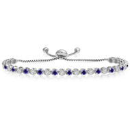 """One-Size-Fits-All"" Adjustable Sapphire and Diamond Tennis Bracelet in 14k White Gold (2.00ctw - 5.00ctw)"