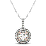 Round Double Halo Diamond Pendant Necklace set in 14kt White Gold (1.00ct)