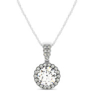 Round Halo Diamond Pendant Necklace set in 14kt White Gold (0.875 cttw)