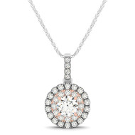 Round Double Row Halo Diamond Pendant Necklace set in 14kt Gold (0.75ct)