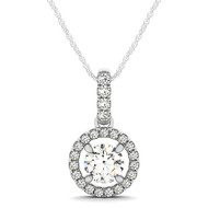Circle Halo Diamond Pendant Necklace set in 14kt White Gold (1.25 cttw)