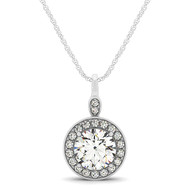 Single Row Circle Halo Diamond Pendant Necklace set in 14kt White Gold (1.25 cttw)