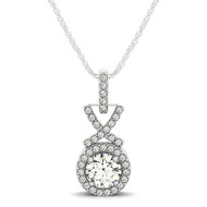 "Round ""XO"" Style Halo Diamond Pendant Necklace set in 14kt White Gold (1.20 cttw)"