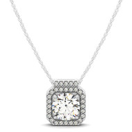 Square Shaped Halo Diamond Pendant Necklace set in 14kt White Gold (1.167 cttw)