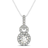 "Round ""Figure-Eight"" Halo Diamond Pendant Necklace set in 14kt White Gold (1.375 cttw)"