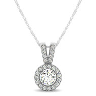 Ornate Round Halo Diamond Pendant Necklace set in 14kt White Gold (0.75 cttw)
