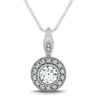 Elegant Single Row Round Halo Diamond Pendant Necklace set in 14kt White Gold (0.625 cttw)