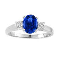 Oval Sapphire 3 Stone Ring set in 14kt White Gold (0.625 cttw, i-1)