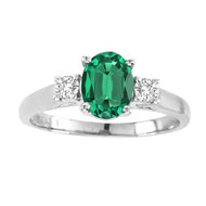 Oval Emerald 3 Stone Ring set in 14kt White Gold (0.625 cttw, Si-2)
