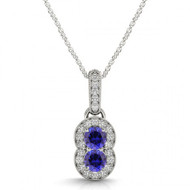Round Sapphire Two Stone Pendant Necklace set in 14kt White Gold i-1