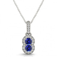Round Tanzanite Two Stone Pendant Necklace set in 14kt White Gold i-1