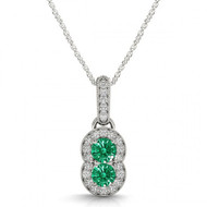 Round Emerald Two Stone Pendant Necklace set in 14kt White Gold Si-2