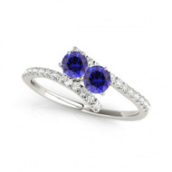 Round Sapphire Two Stone Ring set in 14k White Gold i-1