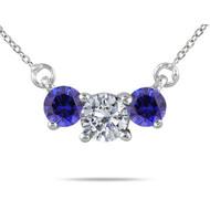 Round Sapphire Three Stone Olympic Pendant Necklace set in 14kt White Gold (0.33 cttw, i-1)