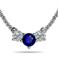 Round Tanzanite Three Stone Olympic Pendant Necklace set in 14kt White Gold (0.33 cttw, i-1)