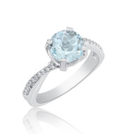 2ct AQUAMARIN AND DIAMOND RING 14K