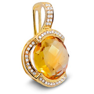 Citrine and Diamond Pendant set in 14k Yellow Gold (5.81ct t.w)