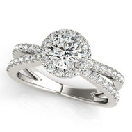 1/2 ct Round  Diamond Halo Split Shank Engagement Ring in 14k White Gold (.85ctw)