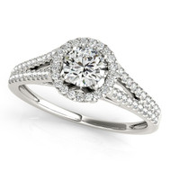 1/4 ct Round Diamond Split Shank Engagement Ring in 14KT White Gold(.50ctw)