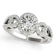 1/2 ct Round Diamond Engagement  Interlock Ring in 14K White Gold (.83ct t.w)