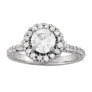 1/2 ct Round Diamond Halo Engagement Ring in 14KT White Gold(1.52ctw)