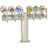 """Illuminated Metropolis """"T"""" - 6 Faucets - Polished Stainless Steel - Glycol Cooled"""