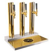 Skyline Beer Tower - 3 Faucet - PVD Brass - W/ Rinser