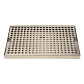 "Surface Mount 8"" Wide Drip Trays w/ Drains- Stainless Steel"
