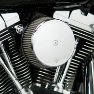 "Arlen Ness Chrome ""Big Sucker"" Stage I Stainless Air Filter Kit with Cover 2008-2016 FLT Bagger"