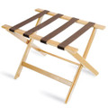 Deluxe Series Wood Luggage Rack, Light Wood, Brown Straps, Price Per Each, 5 Per Case