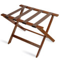 Deluxe Series Wood Luggage Rack, Walnut, Brown Straps, Single Pack