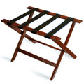 Deluxe Series Wood Luggage Rack, Cherry Mahogany, Black Straps, Single Pack