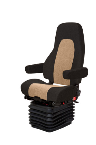 National Seating Admiral in Black and Sand Leather with Arms