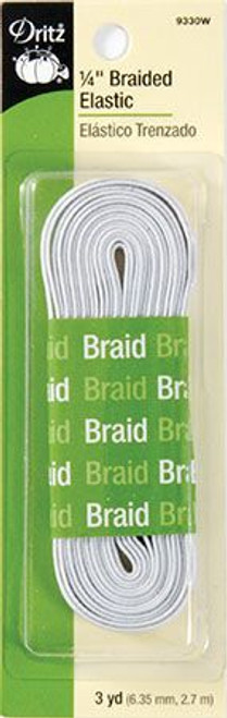 "1/4"" White Braided Elastic"
