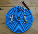 Training/Lunge Line shown with SS O'Ring and Carabiner. You can also choose a SS Trigger Bull Snap (far left) or a Safety Brass Twist Snap on the far right. All Lunge Lines are hard spliced to your hardware. If you prefer your Trigger Bull or Brass Twist not be hard spliced to the rope please make a note during the checkout process. Lunge Lines ordered with an O'Ring and Carabiner will always be hard spliced to your rope.