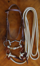 Snaffle Bridle Package with 20 ft.Tan Mecate Rein (with minor flaws)
