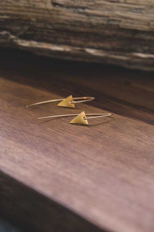 Veronica & Harold - Camille Brass Triangle Hooks $38 - Show Pony Boutique