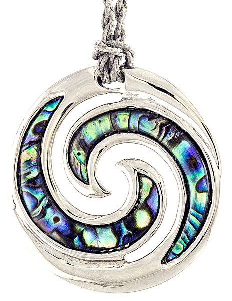 Stainless Steel Paua Closed Koru Necklace