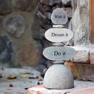 Caim Sculpture | Wish it, Dream it, Do it - Cut Stone