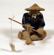 Chinese Mudman Figurine   Fisherman Glazed (MM209)