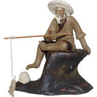 Chinese Figurine - Man Sitting Fishing off of a Rock (F-067)