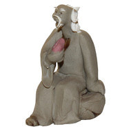 Chinese Figurine - Mudman Sitting Eating Sushi (F-089)