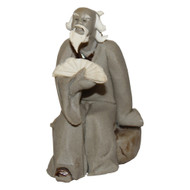 Chinese Figurine - Mudman Sitting Holding Fan (F-091)