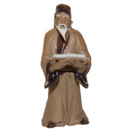 Chinese Figurine - Mudman Standing Reading (F-095)