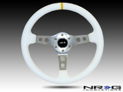 "NRG 350mm Sport Steering Wheel (2"" Deep) White Leather with White Stitching"