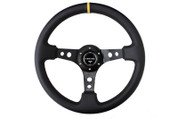 "NRG 350mm Sport Steering Wheel (3"" Deep) Black Leather with Yellow Center"