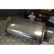 Magnaflow Universal Muffler - Polished Stainless; Piping: 3in. Inlet / 3in.Outlet; Core: 3in.; Pipe Position: Center-Offset; Style: 4x9in. Oval; Body: 14in.; Overall: 20in.