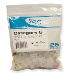 IC107L6CWH - 25PK Cat6 Jack - White