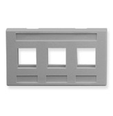 FACEPLATE, FURNITURE, 3-PORT, GRAY