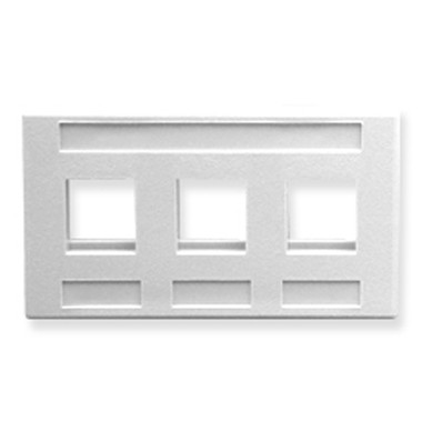 FACEPLATE, FURNITURE, 3-PORT, WHITE